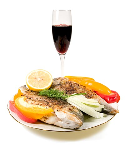fried fish and wine