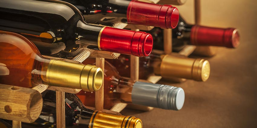 wine racks with bottles