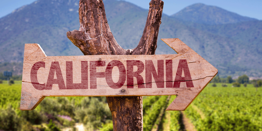 Sign pointing to California Wine Region