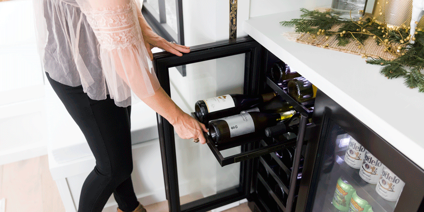 Storing champagne in a wine fridge